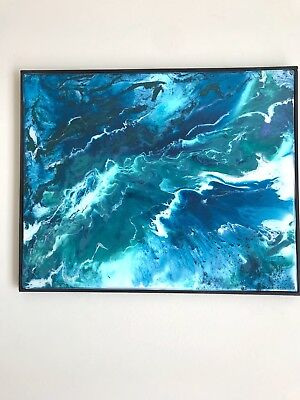 Art Abstract Original Painting. Epoxy resin 16,5*20,5 in