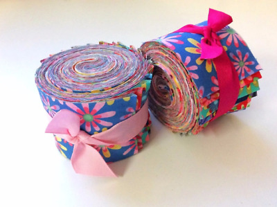 2.5 inch Crazy Daisy Jelly Roll 100% cotton fabric quilting strips