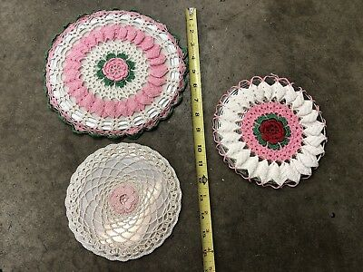 Vintage Crochet Round Doily Hot Pad Mat Trivet Cover Lot Of Three-  Nice Set
