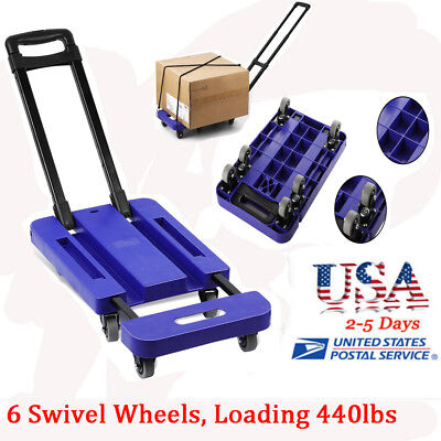 Foldable 440LB Hand Truck Dolly Collapsible Cart Luggage Trolley & 6 Wheels OY