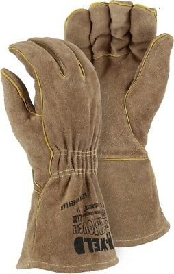 FR LEATHER WELDERS GLOVE WITH ELASTIC WRIST, Majestic, 2100, Large, 12 Pair