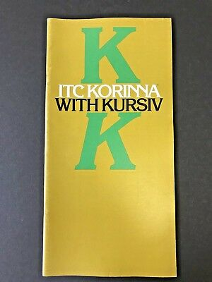 ITC Korinna with Kursiv, type specification book, 1977, 36 pages, graphic design