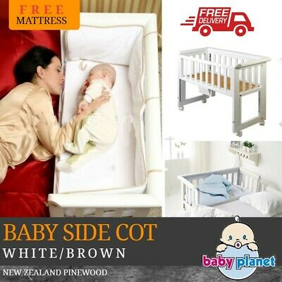 Baby Sleeper Side Cot Co Sleeping Sleep Bassinet Crib Bed Close 2 Arms White