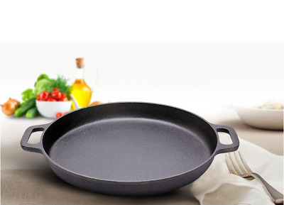 Round Cast Iron Pre Seasoned Skillet 11 Inch Cookware Stove Oven Pan Heats 28cm