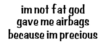 im not fat god gave me airbags because im  precious vinyl funny car decal
