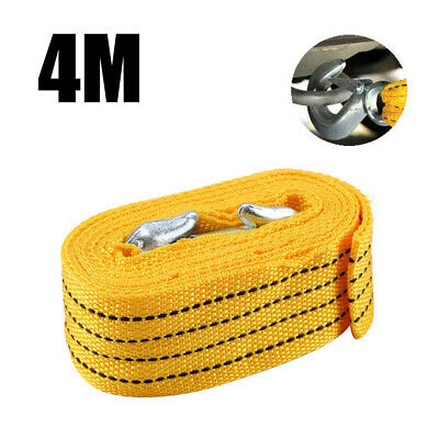 4M Heavy Duty 3 Tons Car Tow Cable Emergency Trailer Pull Rope Strap 2 Hooks UK