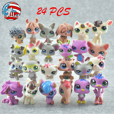 24pcs Littlest Pet Shop Lot Animal Hasbro LPS Figure Xmas Toys dog Lion cat cow