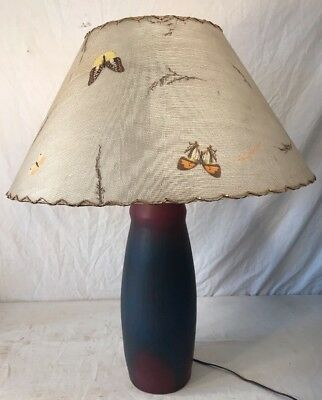 Large Vintage Vanbriggle Pottery Table Lamp With Original Butterfly Shade