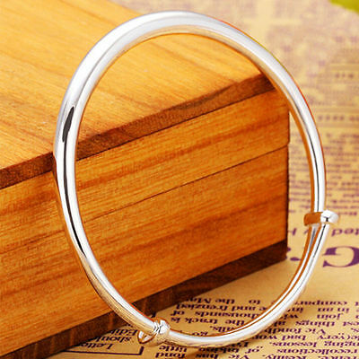 Women Fashion Jewelry 925 Silver Plated Adjustable Bangle Bracelet 33-3