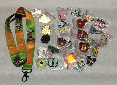 Disney TRADING PINS! 25 Pin Lot - New - No Doubles - FREE LANYARD  & 2 FREE PINS