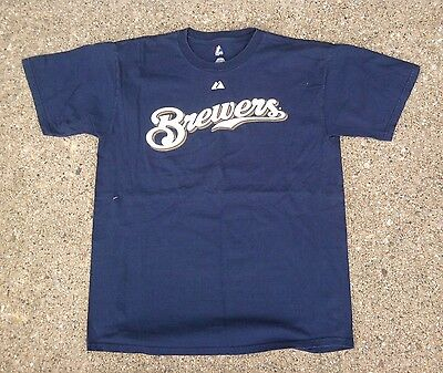 Milwaukee Brewers #8 Ryan Braun MLB Baseball Shirt ~ Men's Large L Blue Majestic