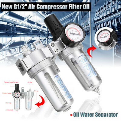 "G1/2"" Air Compressor Filter Oil Water Separator Trap Tools With Regulator Gauge"