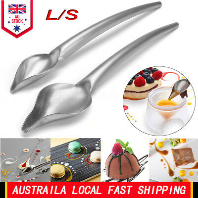Sauce Spoon Draw Tool for Dressing Dessert Salad Food Plate Decoration Silver AU
