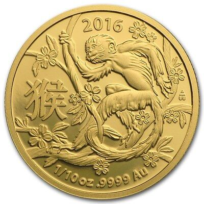 2016 Royal Australia Mint Gold Lunar Monkey 1/10 oz Bullion Coin