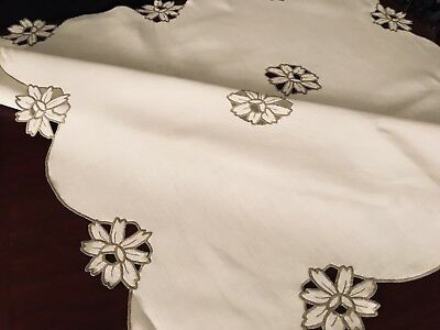 VINTAGE HAND EMBROIDERED TAUPE & WHITE LINEN TABLECLOTH 40X40 Inches