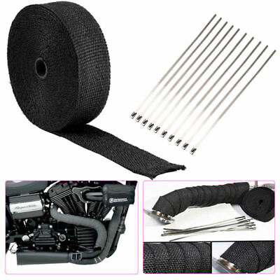 Heat Resistant 2000F Exhaust Wrap Black 15M*50mm + 10 Stainless Steel Ties
