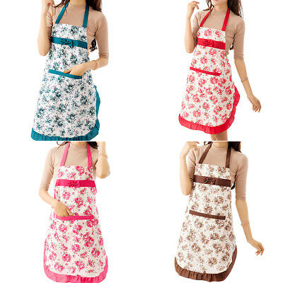 Women Floral Bowknot Waterproof Kitchen Restaurant Cooking Pocket Apron Welcome