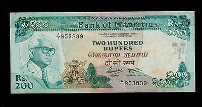 MAURITIUS  200 RUPEES   ( 1985 )  PICK # 39a  VF.