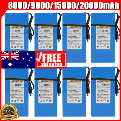 AU SHIPPING - DC 12V 20000mAh Rechargeable Li-ion Battery Batteries Pack