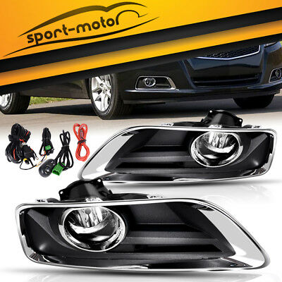 for 2013-2015 Chevy Malibu Clear Bumper Fog Light Lamps+Wiring+Switch Left+Right