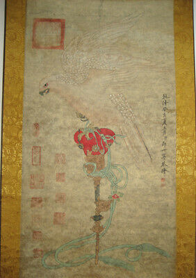 Excellent Chinese Hand Painting  Eagle by Lang Shining 郎世宁 鹰