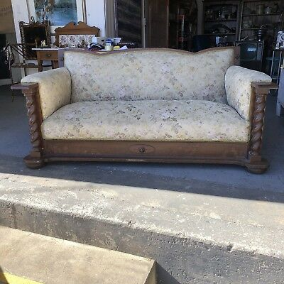 Large ANTIQUE Barley Twist Silky Oak 3 Piece Lounge To Restore CHAIR