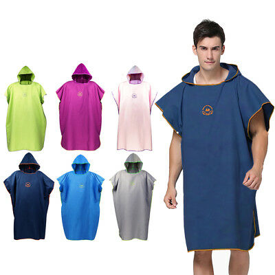 Beach Bath Microfiber Surf Poncho Robe With Hood Wetsuit Changing Towel Unisex