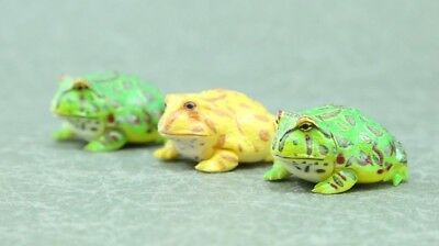 "animal Horned Horn Frog Toad mini Figure 3PCS Authentic 0.7"" Kaiyodo Japan D1156"