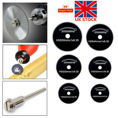 UK 6X Diamond Cutting Discs Wheel Blades Set+Drill Bit For Dremel Rotary Tools