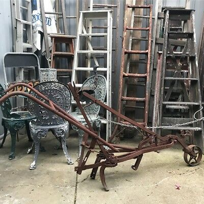 Antique old Farm TIME metal Industrial Plough Great garden relic