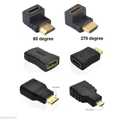 8 Styles HDMI Male to Female Extension Adapter Converter Micro Cable Connector !