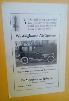 1913 Westinghouse Air Springs On Packard Car Pittsburgh PA. Orig. Advertisements