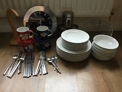 JOB LOT BUNDLE KITCHEN -Debenhams Dining Set - Cutlery - Clock - Storage - Mugs
