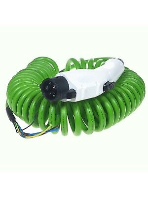 Type 1 (J1772) EV Tethered Charging Plug and Lead 16Amps - COILED GREEN cable