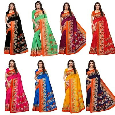 Designer Kanjipuram Saree Bollywood Indian Cotton Silk sari Party Wear Blouse SC