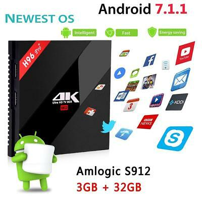 H96 Pro+ Amlogic S912 Android 7.1 4K Smart TV BOX Octa-core 32GB WIFI BT HDMI