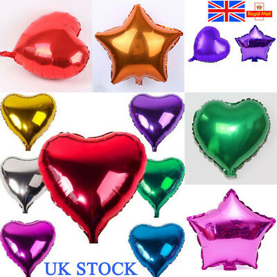 UK 10-20PCS Heart Star Shape Ballons Helium Foil Balloon Christmas Party Decor