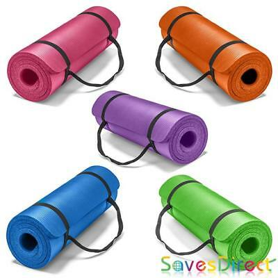 Large Thick Yoga Mat for Pilates Gymnastics Exercise with Carrier Strap Non-slip