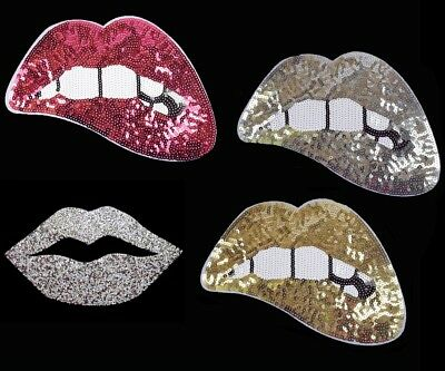 Large 25cm Hot Lips Sequin/Hotfix Iron on Patch Badge Gold Silver Hot Pink