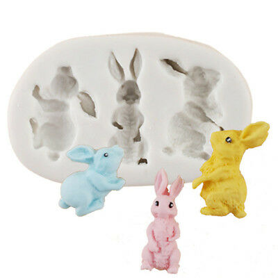 White Baby 3D Rabbit Silicone Fondant Chocolate Sugarcraft Mold Cake Decor Z