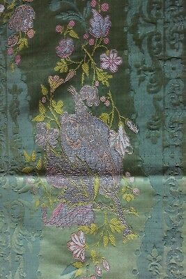 Antique 18thC French Bizarre Brocaded Silk Home Dec Textile Fabric c1770