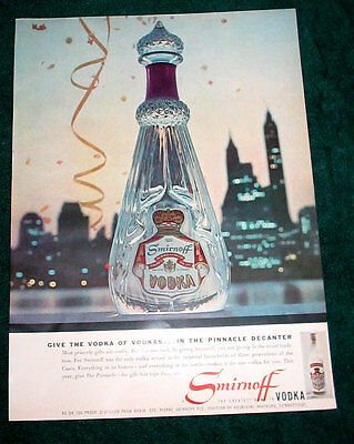 Smirnoff Vodka lg format print ad 1957 Pinnacle Decanter