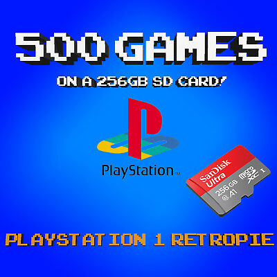 256 GB Retropie PS1 500 Games - 3B+ & 3B SD Card, Collection of Playstation PSX!