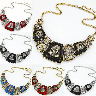 Fashion Women Punk Metal Geometric Pendant Collar Chunky Bib Statement Necklace