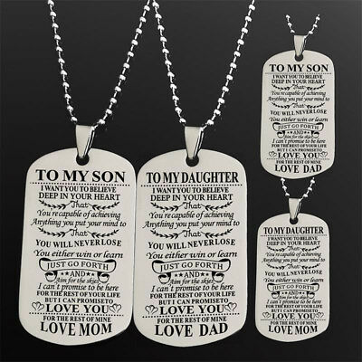 TO MY SON Daughter Necklace Gifts For Mother Father Teacher Pendant