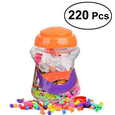 220pcs Snap Pop Beads Toy DIY Jewelry Kit Necklace Art Crafts Gift for Kids Girl