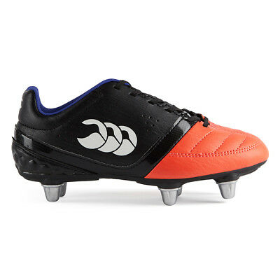 Canterbury CCC Kids Phoenix Club 6 Stud Rugby Boot (Black/Firecracker)