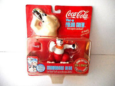 1998 Coca Cola Wind Up Polar Crew Snowboard Bear New In Sealed Package