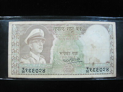 Nepal 10 Rupee 1972 King Vikrama 66# Bank Currency Money Banknote