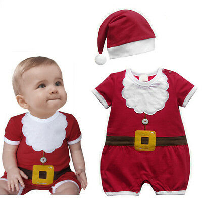 Christmas Costume for Newborn Baby Boy Girl Romper Hat Xmas Santa Claus Cosplay